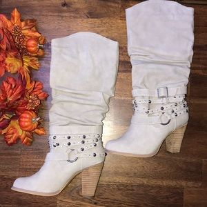 Heeled Boots Tan Soft Pretty Bedazzled New